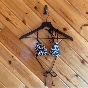Volcom Printed Triangle Bikini Top Black White Sm